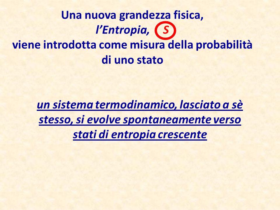 Una nuova grandezza fisica, l'Entropia, S viene introdotta come misura della probabilità di uno stato un sistema termodinamico, lasciato a sè stesso,