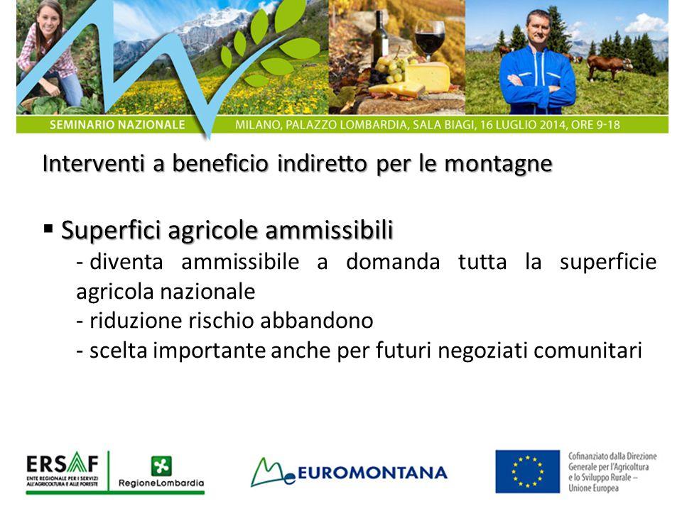 Interventi a beneficio indiretto per le montagne Superfici agricole ammissibili  Superfici agricole ammissibili - diventa ammissibile a domanda tutta