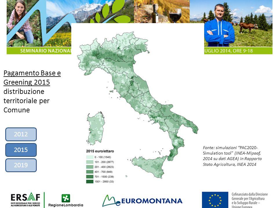 """Pagamento Base e Greening 2015 distribuzione territoriale per Comune Fonte: simulazioni """"PAC2020- Simulation tool"""" (INEA-Mipaaf, 2014 su dati AGEA) in"""