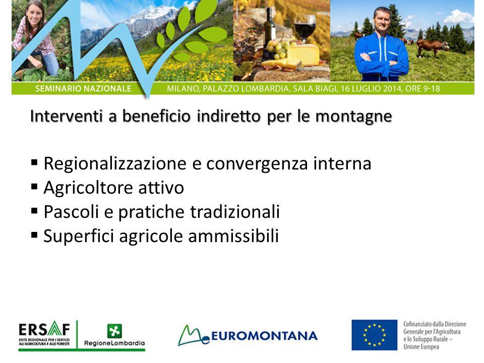 Interventi a beneficio indiretto per le montagne  Regionalizzazione e convergenza interna  Agricoltore attivo  Pascoli e pratiche tradizionali  Su
