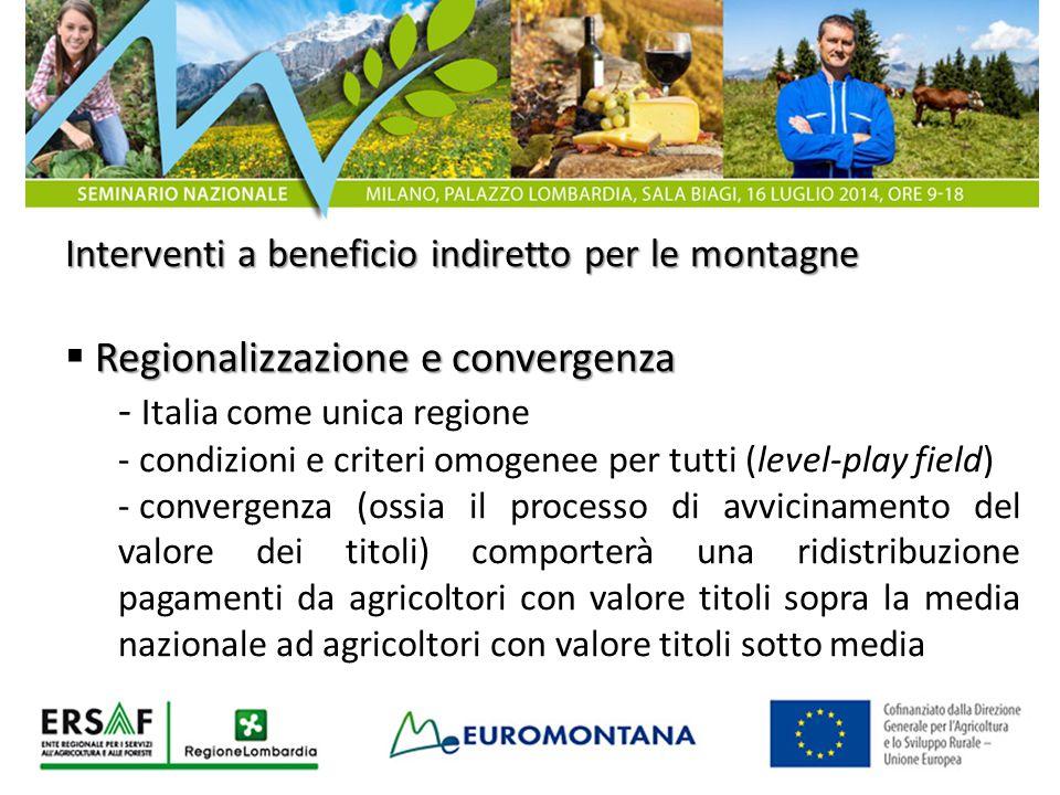 Misure a beneficio diretto per le montagne  Sostegno accoppiato - 5,60% del plafond per sostegno accoppiato assegnato a vacche a prevalente attitudine latte, per allevamenti in zone montane - nel 2015 24 Meuro solo per le zone di montagna (in Art.