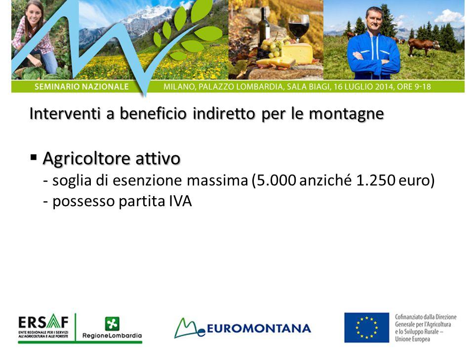 Interventi a beneficio indiretto per le montagne Agricoltore attivo  Agricoltore attivo - soglia di esenzione massima (5.000 anziché 1.250 euro) - po