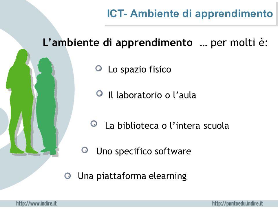 ICT- Ambiente di apprendimento L'ambiente di apprendimento … per molti è: Lo spazio fisico Il laboratorio o l'aula La biblioteca o l'intera scuola Uno