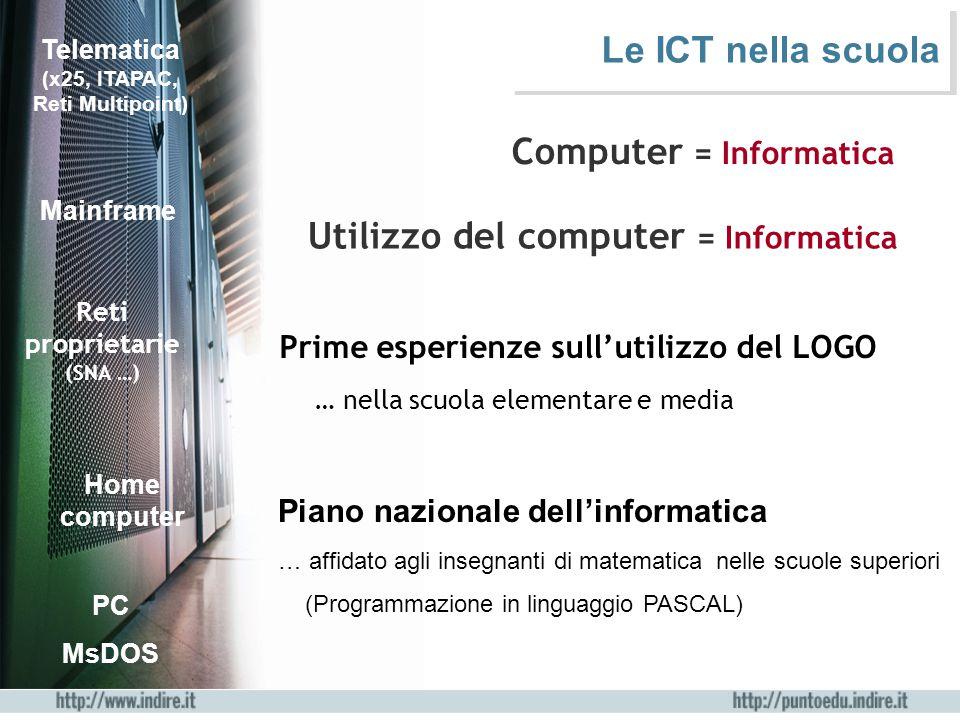 Computer Internet Non è più necessario programmare il computer (diffusione di Windows ) Utilizzo diffuso del computer e della rete nella didattica nelle diverse discipline LAN Le ICT nella scuola