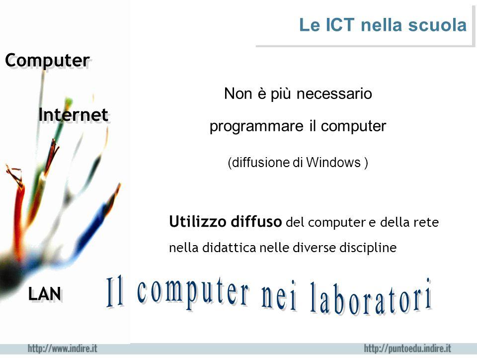 Computer Internet Non è più necessario programmare il computer (diffusione di Windows ) Utilizzo diffuso del computer e della rete nella didattica nel