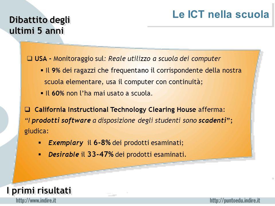 Le ICT nella scuola Dibattito degli ultimi 5 anni I primi risultati  USA - Monitoraggio sul: Reale utilizzo a scuola dei computer  Il 9% dei ragazzi