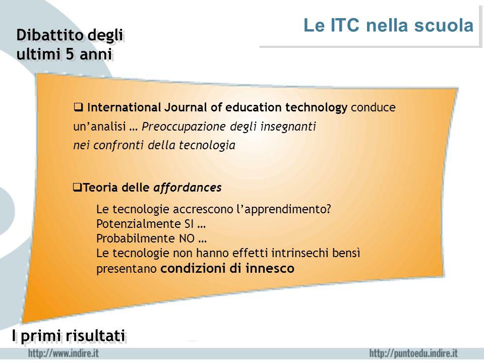 Le ITC nella scuola  International Journal of education technology conduce un'analisi … Preoccupazione degli insegnanti nei confronti della tecnologi