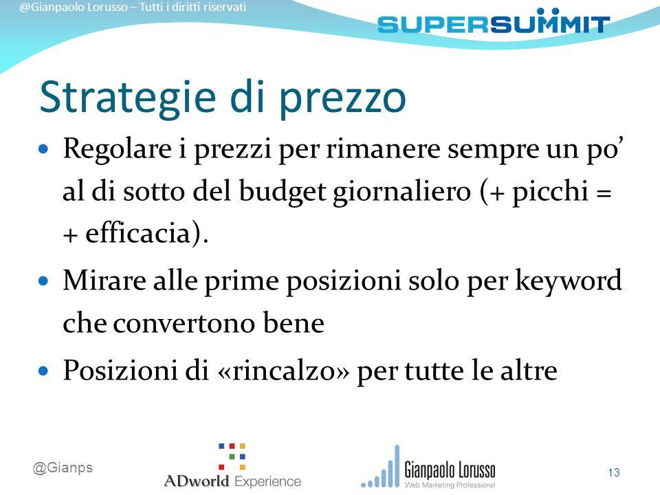 @Gianps @Gianpaolo Lorusso – Tutti i diritti riservati Regolare i prezzi per rimanere sempre un po' al di sotto del budget giornaliero (+ picchi = + efficacia).