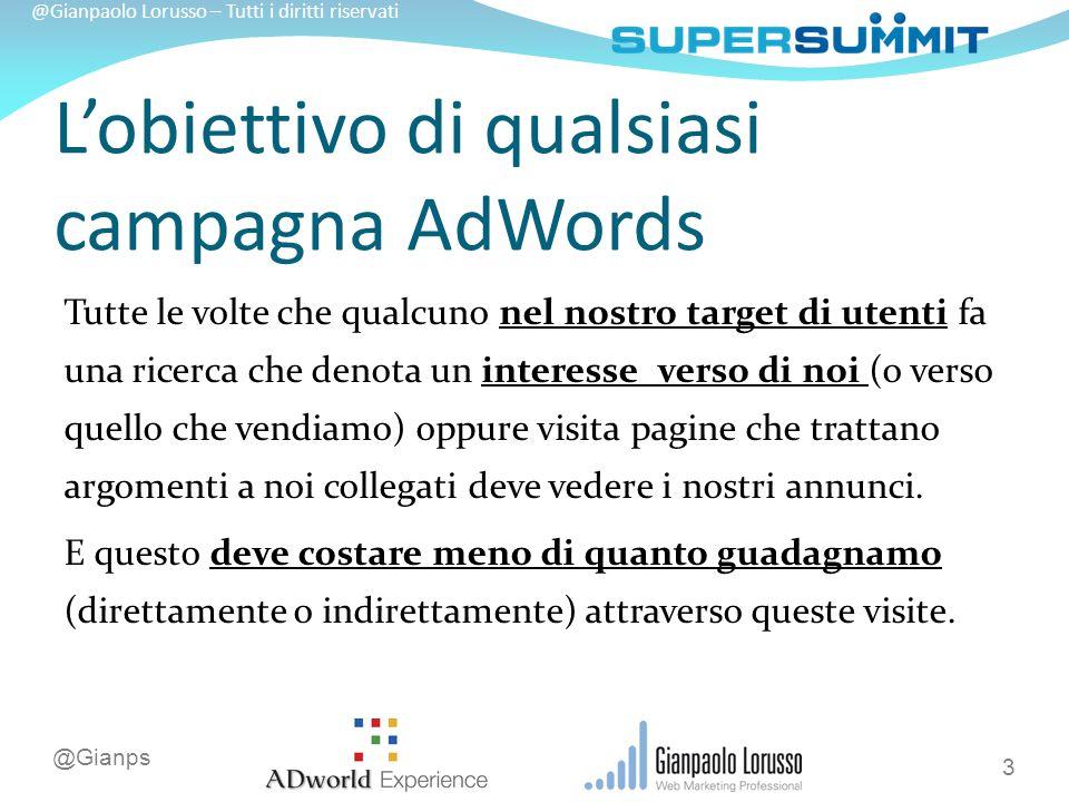 @Gianps @Gianpaolo Lorusso – Tutti i diritti riservati L'obiettivo di qualsiasi campagna AdWords Tutte le volte che qualcuno nel nostro target di utenti fa una ricerca che denota un interesse verso di noi (o verso quello che vendiamo) oppure visita pagine che trattano argomenti a noi collegati deve vedere i nostri annunci.