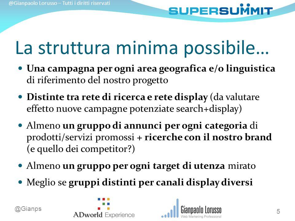 @Gianps @Gianpaolo Lorusso – Tutti i diritti riservati Ottimizzare una campagna Efficienza il prezzo dei clic è il minore possibile.