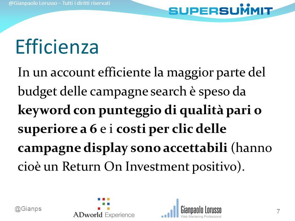 @Gianps @Gianpaolo Lorusso – Tutti i diritti riservati Le keyword e i posizionamenti più redditizi devono avere la massima copertura (quota di impression, geografica e oraria).