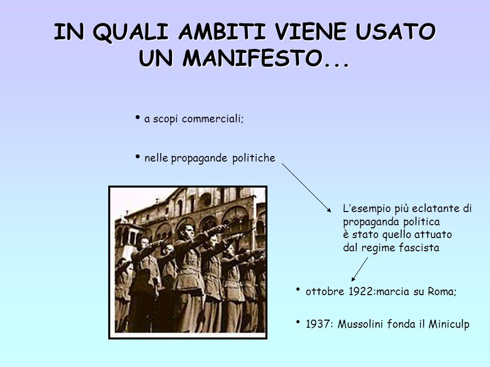 IN QUALI AMBITI VIENE USATO UN MANIFESTO...