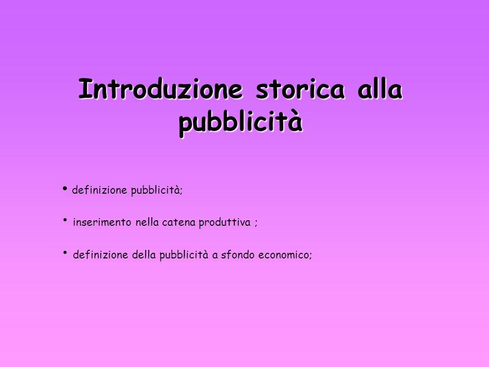 Introduzione storica alla pubblicità definizione pubblicità; inserimento nella catena produttiva ; definizione della pubblicità a sfondo economico;