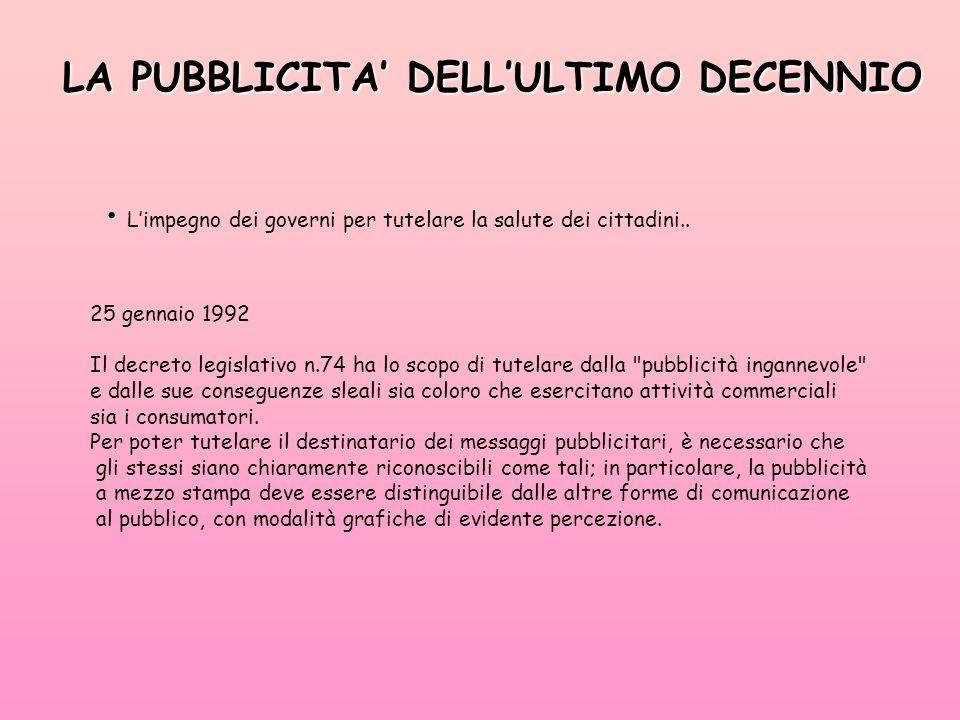 LA PUBBLICITA' DELL'ULTIMO DECENNIO L'impegno dei governi per tutelare la salute dei cittadini..