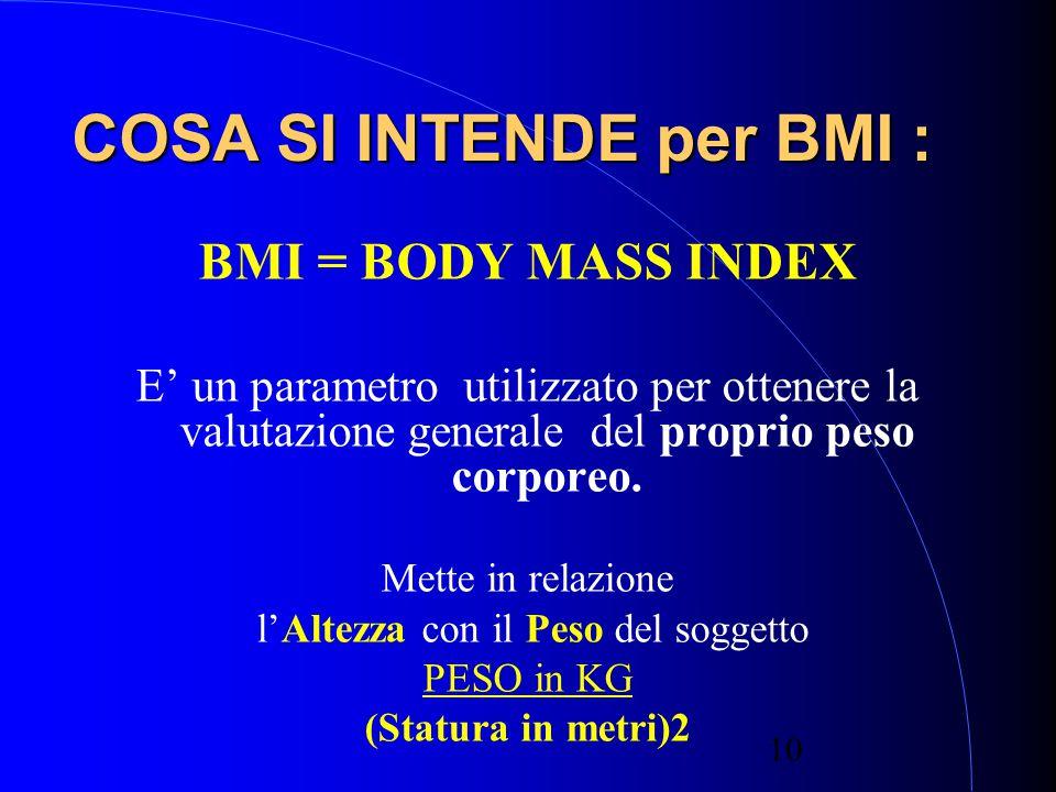 10 COSA SI INTENDE per BMI : BMI = BODY MASS INDEX E' un parametro utilizzato per ottenere la valutazione generale del proprio peso corporeo.