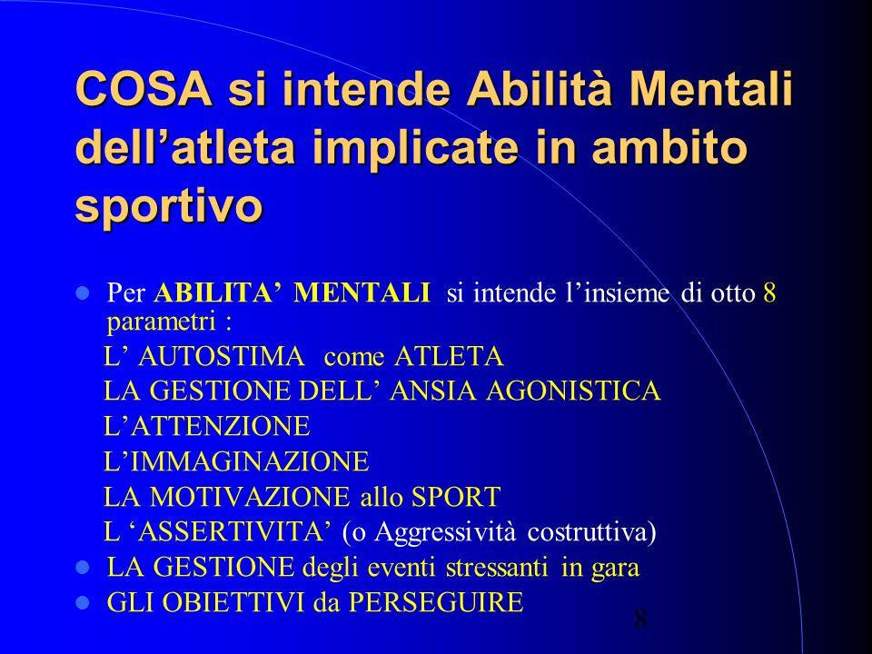 8 COSA si intende Abilità Mentali dell'atleta implicate in ambito sportivo Per ABILITA' MENTALI si intende l'insieme di otto 8 parametri : L' AUTOSTIMA come ATLETA LA GESTIONE DELL' ANSIA AGONISTICA L'ATTENZIONE L'IMMAGINAZIONE LA MOTIVAZIONE allo SPORT L 'ASSERTIVITA' (o Aggressività costruttiva) LA GESTIONE degli eventi stressanti in gara GLI OBIETTIVI da PERSEGUIRE