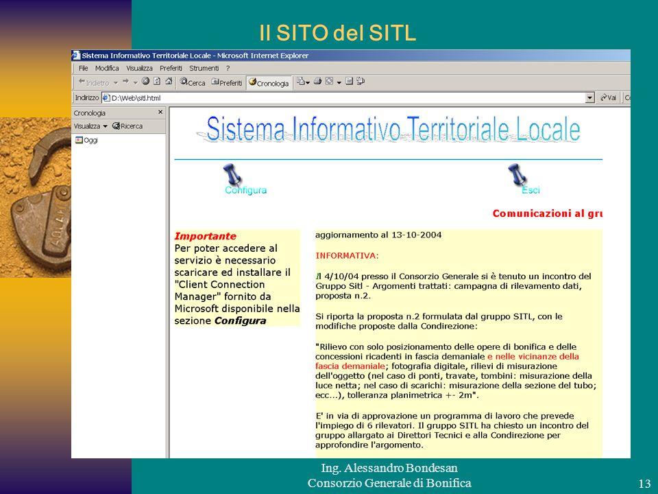 Ing. Alessandro Bondesan Consorzio Generale di Bonifica13 Il SITO del SITL