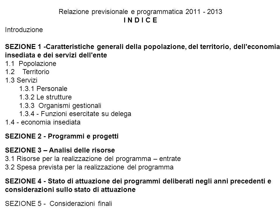 Relazione previsionale e programmatica 2011 - 2013 I N D I C E Introduzione SEZIONE 1 -Caratteristiche generali della popolazione, del territorio, dell economia insediata e dei servizi dell ente 1.1 Popolazione 1.2 Territorio 1.3 Servizi 1.3.1 Personale 1.3.2 Le strutture 1.3.3 Organismi gestionali 1.3.4 - Funzioni esercitate su delega 1.4 - economia insediata SEZIONE 2 - Programmi e progetti SEZIONE 3 – Analisi delle risorse 3.1 Risorse per la realizzazione del programma – entrate 3.2 Spesa prevista per la realizzazione del programma SEZIONE 4 - Stato di attuazione dei programmi deliberati negli anni precedenti e considerazioni sullo stato di attuazione SEZIONE 5 - Considerazioni finali