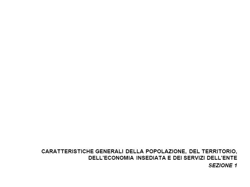 CARATTERISTICHE GENERALI DELLA POPOLAZIONE, DEL TERRITORIO, DELL ECONOMIA INSEDIATA E DEI SERVIZI DELL ENTE SEZIONE 1
