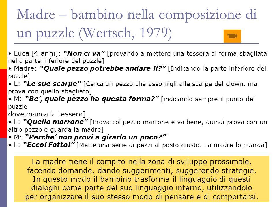 """Madre – bambino nella composizione di un puzzle (Wertsch, 1979) Luca [4 anni]: """"Non ci va"""" [provando a mettere una tessera di forma sbagliata nella pa"""
