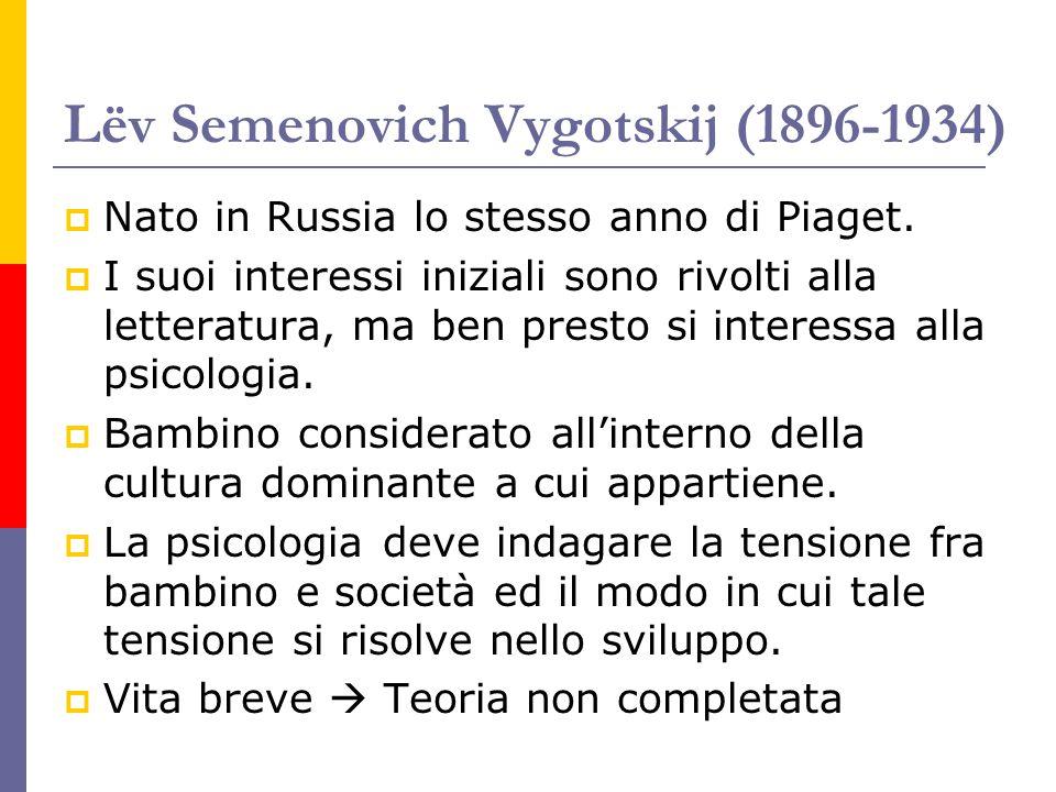 Lëv Semenovich Vygotskij (1896-1934)  Nato in Russia lo stesso anno di Piaget.  I suoi interessi iniziali sono rivolti alla letteratura, ma ben pres
