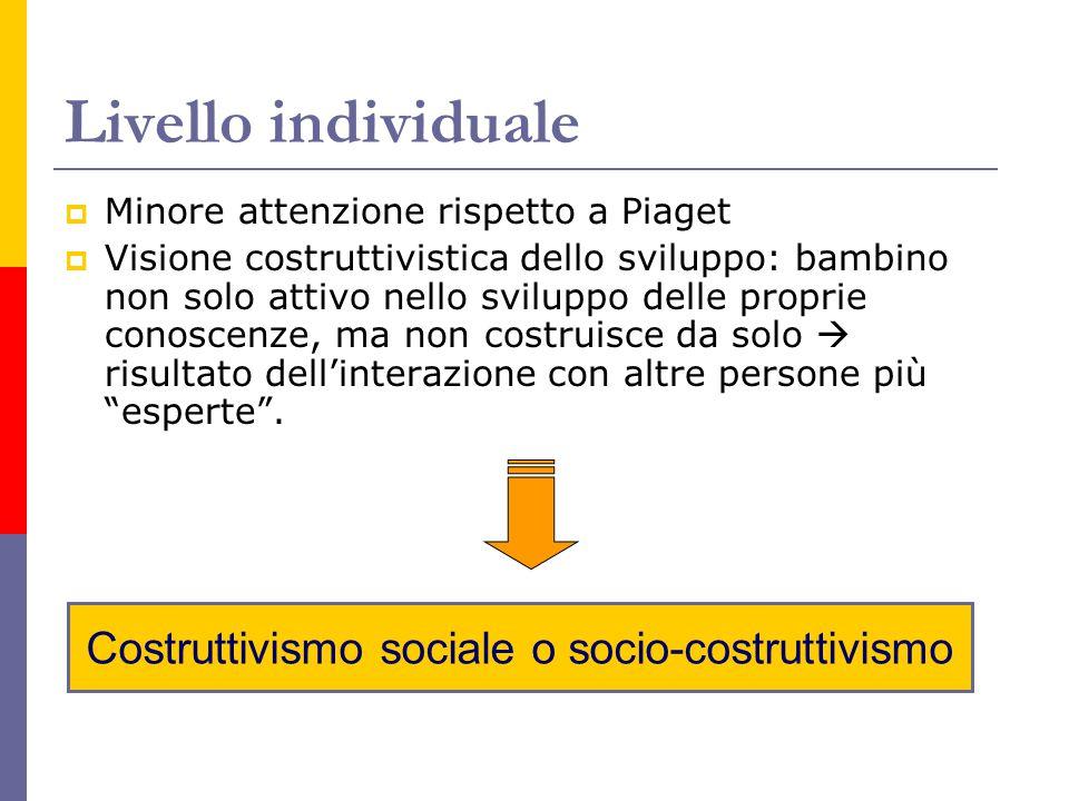 Costruttivismo sociale o socio-costruttivismo Livello individuale  Minore attenzione rispetto a Piaget  Visione costruttivistica dello sviluppo: bam