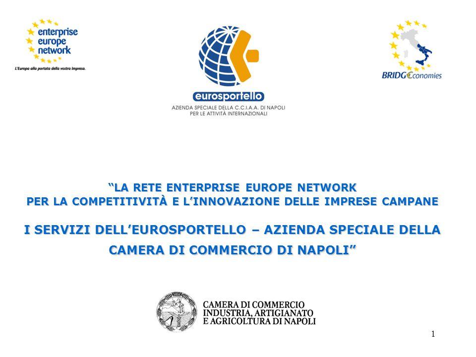 21 L'Eurosportello offre una serie di servizi indirizzati sia alle imprese già operanti con l'estero che a quelle che si affacciano per la prima volta sui mercati internazionali attraverso :  la ricerca partner per lo sviluppo di collaborazioni in ambito commerciale, tecnologico, finanziario e scientifico attraverso la rete Enterprise Europe Network, le Camere di Commercio Italiane all'Estero, l'ICE, la rete consolare italiana, etc.
