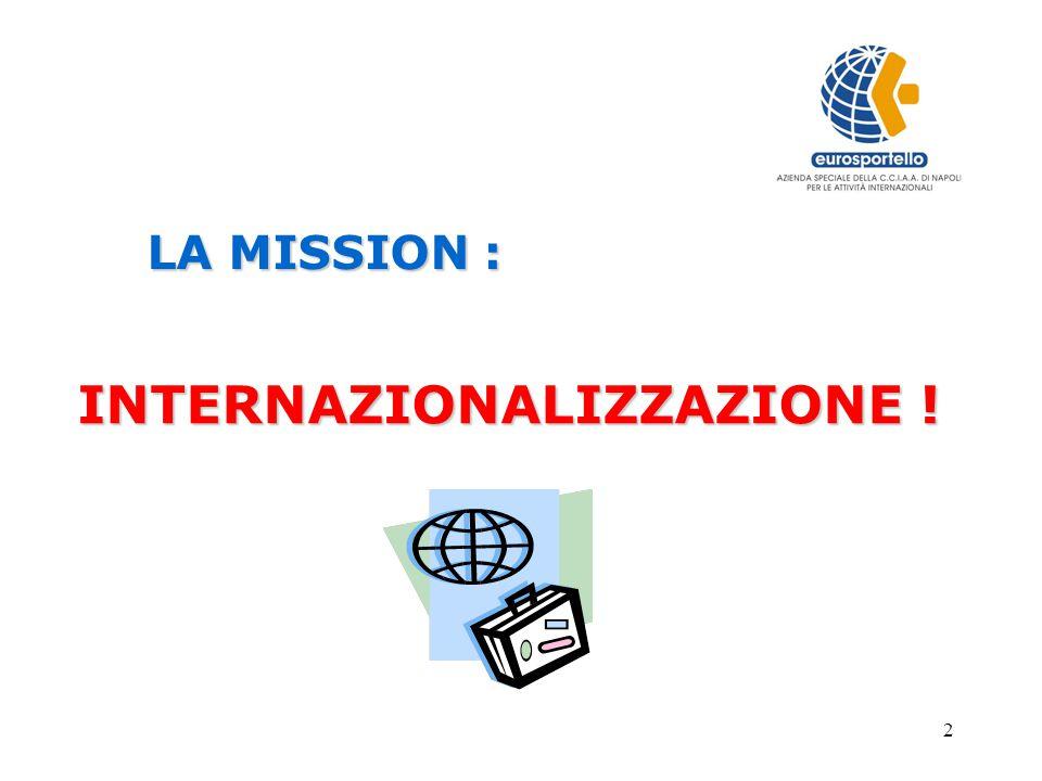 2 LA MISSION : LA MISSION : INTERNAZIONALIZZAZIONE !