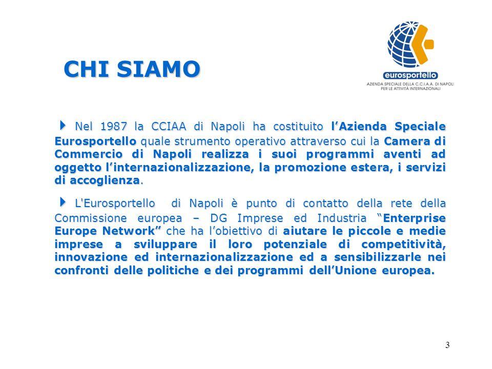3  Nel 1987 la CCIAA di Napoli ha costituito l'Azienda Speciale Eurosportello quale strumento operativo attraverso cui la Camera di Commercio di Napoli realizza i suoi programmi aventi ad oggetto l'internazionalizzazione, la promozione estera, i servizi di accoglienza.
