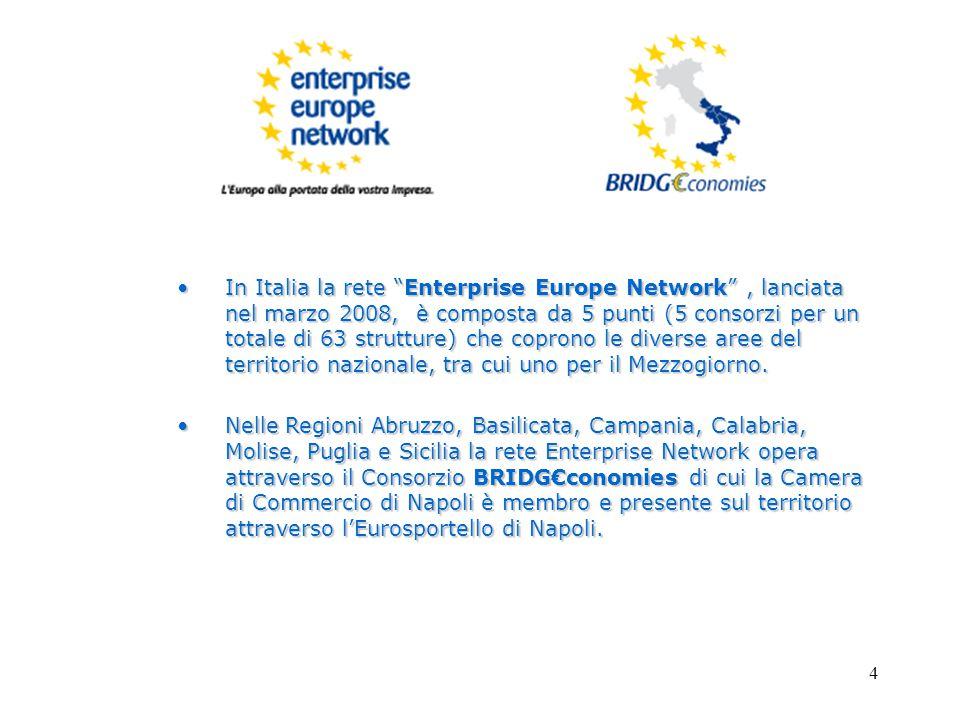 4 In Italia la rete Enterprise Europe Network , lanciata nel marzo 2008, è composta da 5 punti (5 consorzi per un totale di 63 strutture) che coprono le diverse aree del territorio nazionale, tra cui uno per il Mezzogiorno.In Italia la rete Enterprise Europe Network , lanciata nel marzo 2008, è composta da 5 punti (5 consorzi per un totale di 63 strutture) che coprono le diverse aree del territorio nazionale, tra cui uno per il Mezzogiorno.