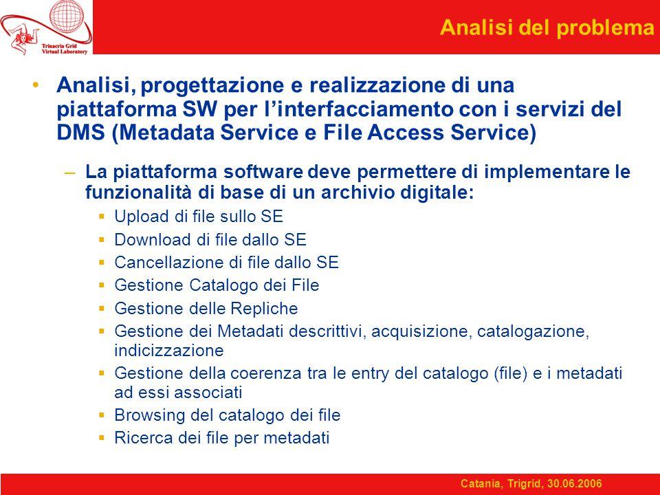 Catania, Trigrid, 30.06.2006 Architettura a livelli del sistema L'idea base è realizzare una architettura distribuita e aperta, per garantire l'interoperabilità con i servizi di gestione dei dati e metadati della infrastruttura GRID (DMS – Data Management Services).