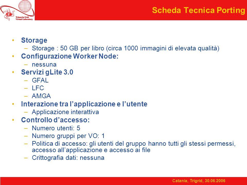 Catania, Trigrid, 30.06.2006 Scheda Tecnica Porting Storage –Storage : 50 GB per libro (circa 1000 immagini di elevata qualità) Configurazione Worker Node: –nessuna Servizi gLite 3.0 –GFAL –LFC –AMGA Interazione tra l'applicazione e l'utente –Applicazione interattiva Controllo d'accesso: –Numero utenti: 5 –Numero gruppi per VO: 1 –Politica di accesso: gli utenti del gruppo hanno tutti gli stessi permessi, accesso all'applicazione e accesso ai file –Crittografia dati: nessuna