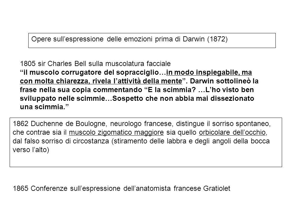 """Opere sull'espressione delle emozioni prima di Darwin (1872) 1805 sir Charles Bell sulla muscolatura facciale """"il muscolo corrugatore del sopracciglio"""