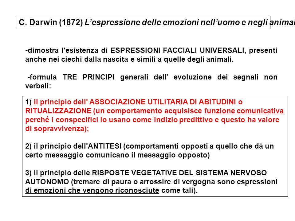 -dimostra l'esistenza di ESPRESSIONI FACCIALI UNIVERSALI, presenti anche nei ciechi dalla nascita e simili a quelle degli animali. -formula TRE PRINCI