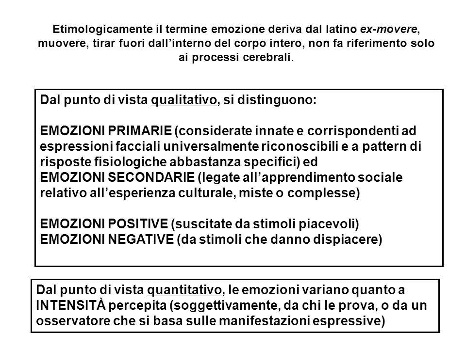 Dal punto di vista qualitativo, si distinguono: EMOZIONI PRIMARIE (considerate innate e corrispondenti ad espressioni facciali universalmente riconosc