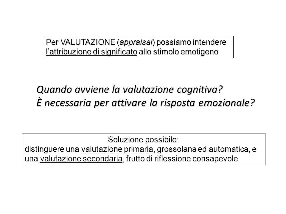 Quando avviene la valutazione cognitiva? È necessaria per attivare la risposta emozionale? Soluzione possibile: distinguere una valutazione primaria,
