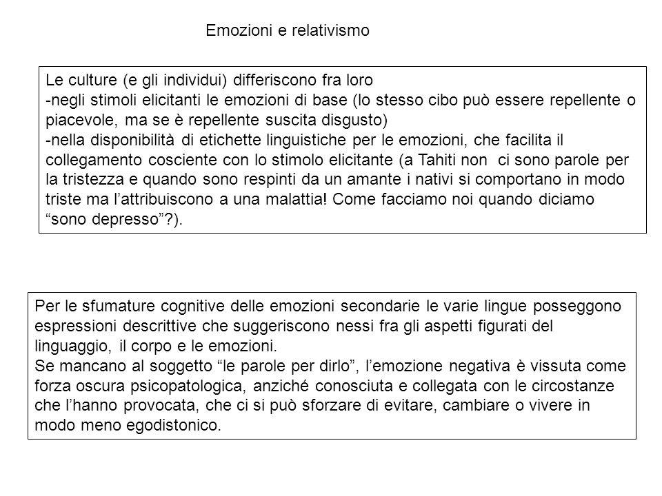 Le culture (e gli individui) differiscono fra loro -negli stimoli elicitanti le emozioni di base (lo stesso cibo può essere repellente o piacevole, ma