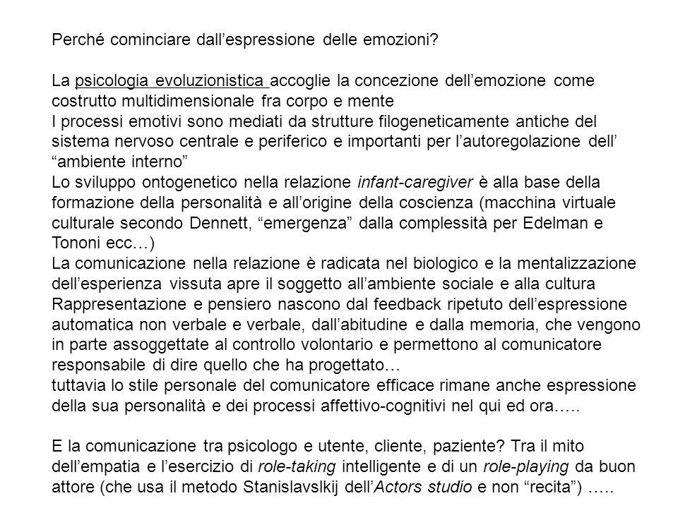 Perché cominciare dall'espressione delle emozioni? La psicologia evoluzionistica accoglie la concezione dell'emozione come costrutto multidimensionale