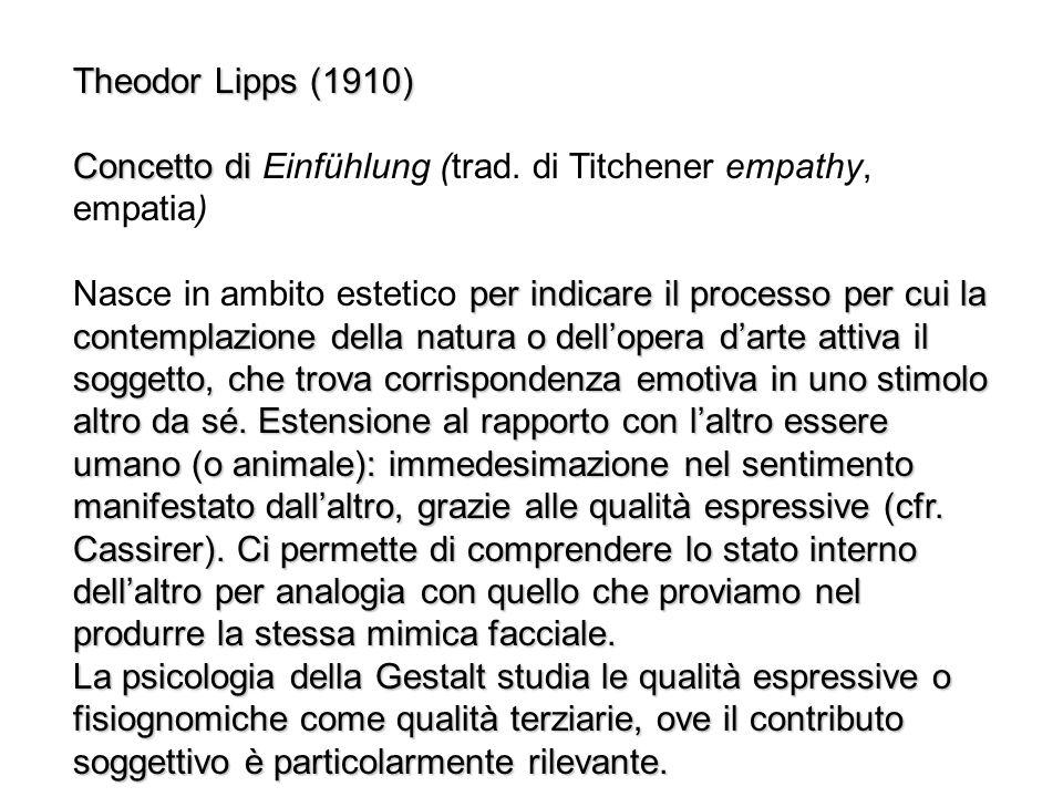 Theodor Lipps (1910) Concetto di Concetto di Einfühlung (trad. di Titchener empathy, empatia) per indicare il processo per cui la contemplazione della