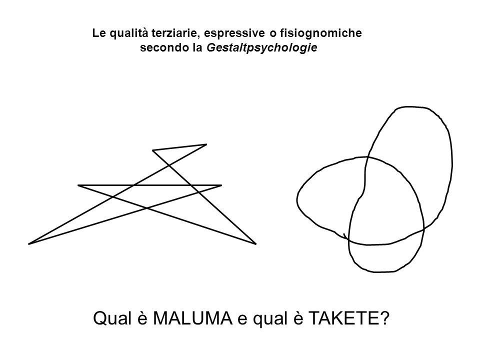 Qual è MALUMA e qual è TAKETE? Le qualità terziarie, espressive o fisiognomiche secondo la Gestaltpsychologie