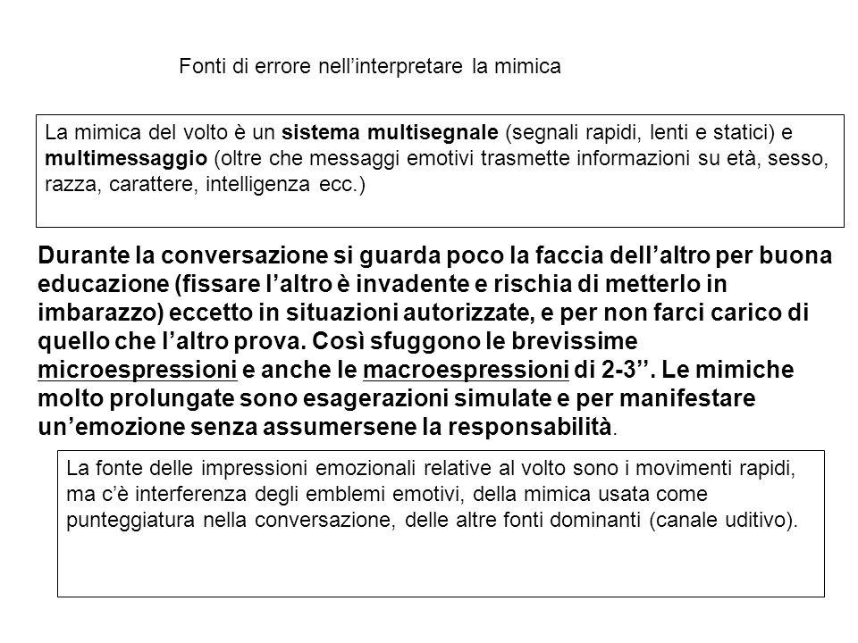 Fonti di errore nell'interpretare la mimica La mimica del volto è un sistema multisegnale (segnali rapidi, lenti e statici) e multimessaggio (oltre ch