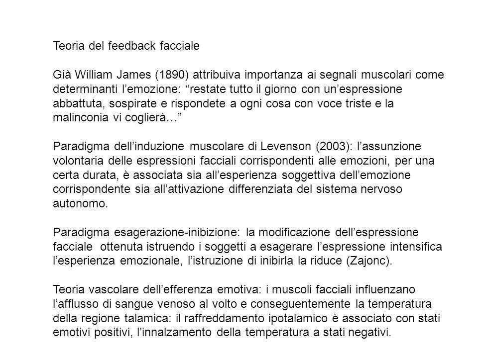 """Teoria del feedback facciale Già William James (1890) attribuiva importanza ai segnali muscolari come determinanti l'emozione: """"restate tutto il giorn"""