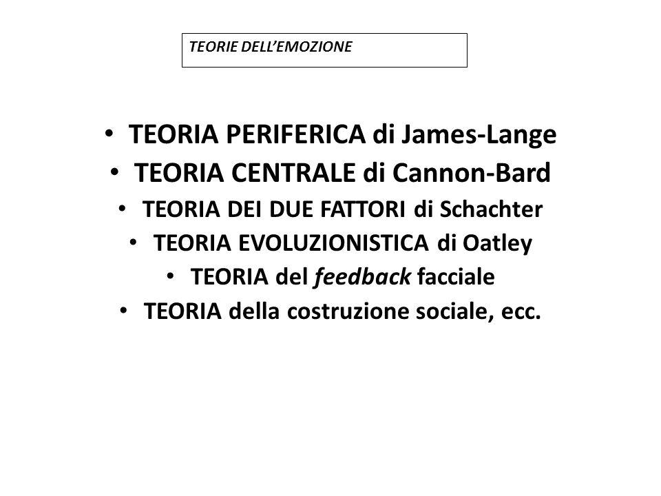 TEORIA PERIFERICA di James-Lange TEORIA CENTRALE di Cannon-Bard TEORIA DEI DUE FATTORI di Schachter TEORIA EVOLUZIONISTICA di Oatley TEORIA del feedba