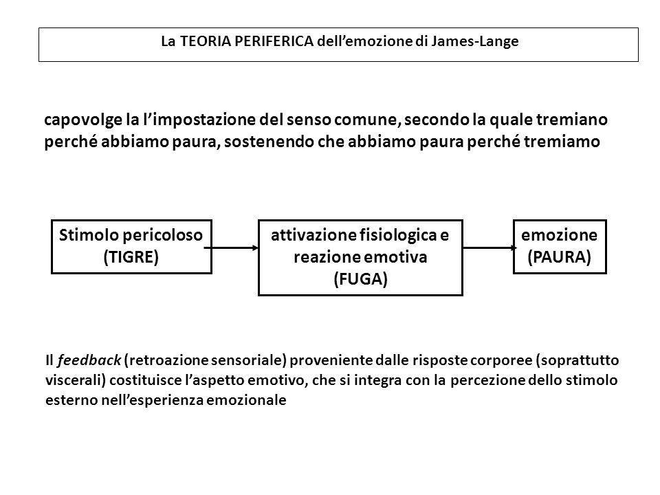La TEORIA PERIFERICA dell'emozione di James-Lange Stimolo pericoloso (TIGRE) attivazione fisiologica e reazione emotiva (FUGA) emozione (PAURA) capovo