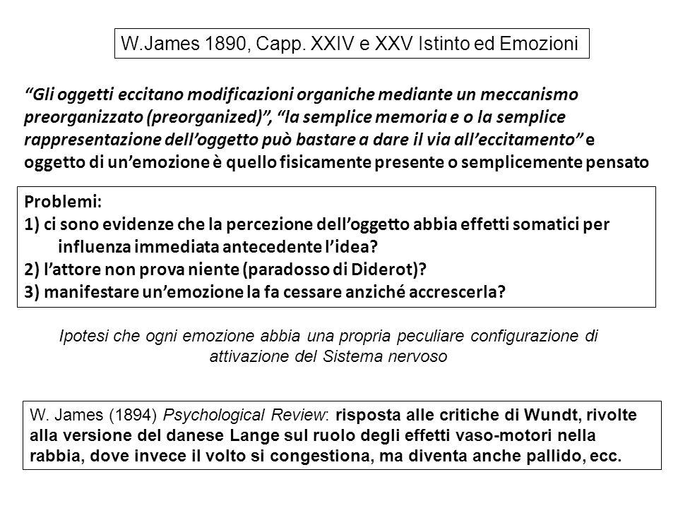 """W.James 1890, Capp. XXIV e XXV Istinto ed Emozioni """"Gli oggetti eccitano modificazioni organiche mediante un meccanismo preorganizzato (preorganized)"""""""