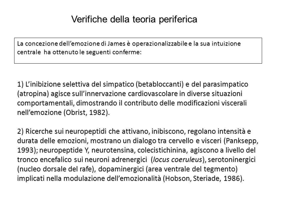 La concezione dell'emozione di James è operazionalizzabile e la sua intuizione centrale ha ottenuto le seguenti conferme: 1) L'inibizione selettiva de