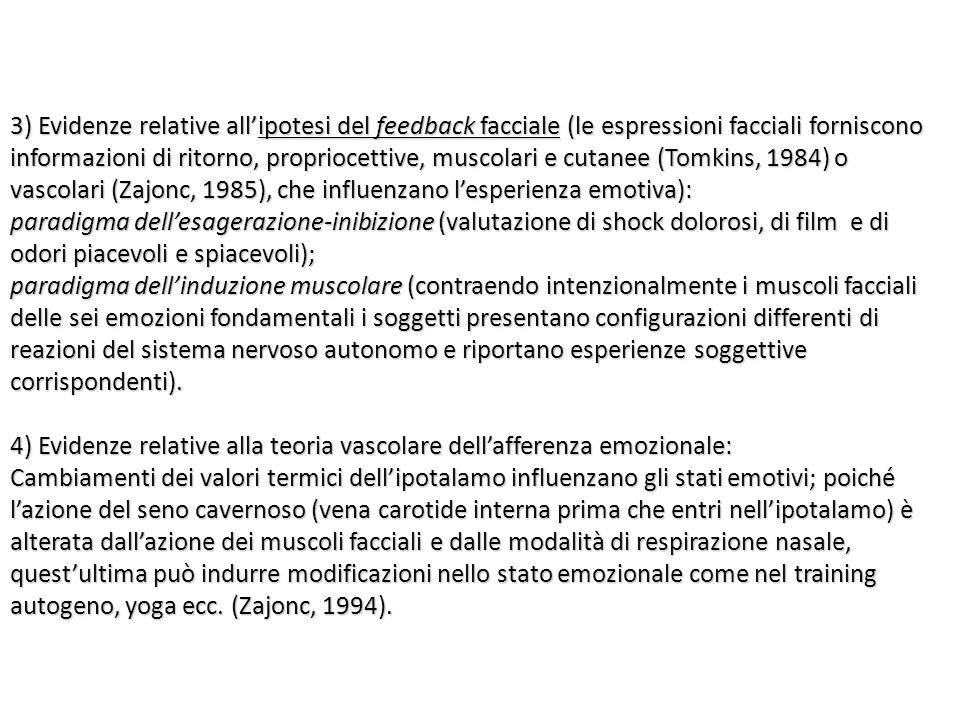 3) Evidenze relative all'ipotesi del feedback facciale (le espressioni facciali forniscono informazioni di ritorno, propriocettive, muscolari e cutane