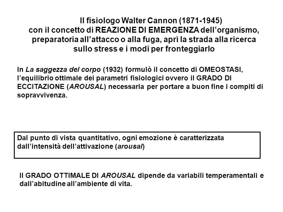 In La saggezza del corpo (1932) formulò il concetto di OMEOSTASI, l'equilibrio ottimale dei parametri fisiologici ovvero il GRADO DI ECCITAZIONE (AROU