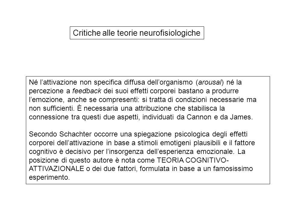 Critiche alle teorie neurofisiologiche Né l'attivazione non specifica diffusa dell'organismo (arousal) né la percezione a feedback dei suoi effetti co