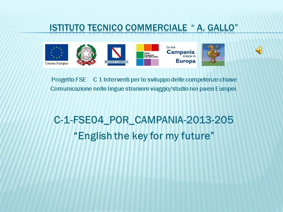 Progetto FSE C 1 Interventi per lo sviluppo delle competenze chiave Comunicazione nelle lingue straniere viaggio/studio nei paesi Europei.